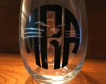 Monogrammed Carolina Panthers wine glass