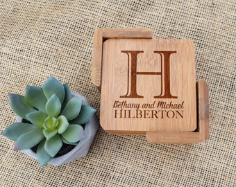 Personalized Coasters, Custom Coasters, Set of 6 w/ Holder, Engraved Wooden Coasters, Wedding, Gift, Present, Housewarming, Closing, Shower