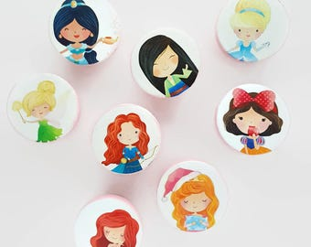 Princesses Set of 8 Knobs