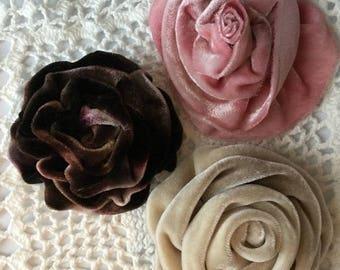 Handmade velvet flower pins