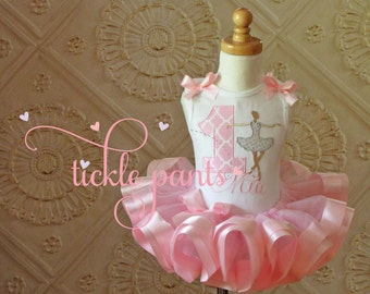 Baby girls 1st Birthday Outfit Ballerina Ballet - Baby pink and silver or gold - Includes top and ribbon tutu - Can be made in many colors