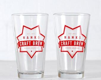 "CUSTOMIZED PINT GLASSES - ""Craft Brew"" design screen printed 16oz. beer tumbler"