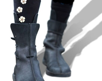 Flower Tights - Printed and Studded Floral Hosiery