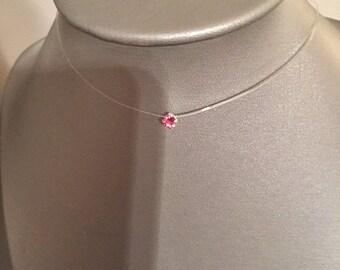 Crew neck rhinestone Swarovski 4 mm Rosaline nylon thread