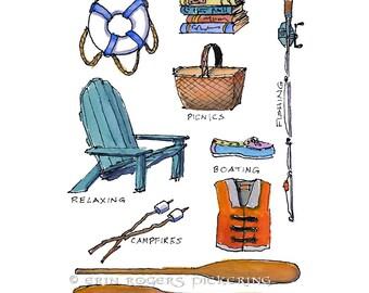 Lakeside illustration Art Print 8x10