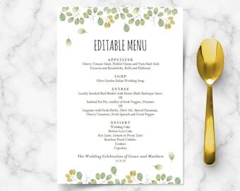 Printable wedding menu template, instant wedding menu download, editable menu card, diy wedding ideas, leaves collection, DIGITAL download