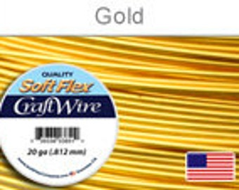 20 Gauge Gold Silver Plated Wire, Soft Flex, Tarnish Resistant,  Round, Supplies, Findings, Craft Wire