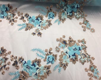 Turquoise Multicolor Flowers Embroider On a Mesh-Prom-nightgown-sold By The Yard