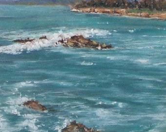 Calm Sea - small original pastel painting california seascape ocean waves shell beach