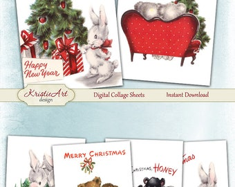 75% OFF SALE Happy Christmas - Digital Collage Sheet Digital Cards C218 Printable Download Image Digital Atc Christmas Cards New Year ACEO