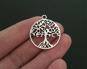 10 Tree of Life Charms 2 Sided Just Lovely Antique Silver Pendant Bracelet Earrings Zipper Pulls Key chains (YT7084)