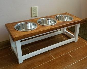 Farmhouse style elevated dog feeder with 3 bowls. Large size dog feeding station. Dog bowl stand. Triple dog feeder. 3 bowl dog feeder.