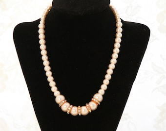 Wedding Jewelry, Bridal Necklace, Pearl Necklace, Pearl & Rondella Necklace, Wedding Pearl Necklace, Bridal Pearls, Rose Pearl Necklace