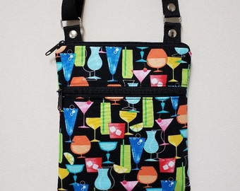 """Purse with Cocktails, Small Crossbody Purse, Crossbody with Cocktails, Lined Zipper Pocket, 68"""" Adjustable Strap, Nylon Lining."""
