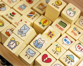Korean Cat Stamp Set - Diary Stamps - Wooden Stamps - 40 pcs