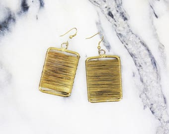 Reserved Vintage Avant Garde Muted Gold Square Wrap Around Earrings