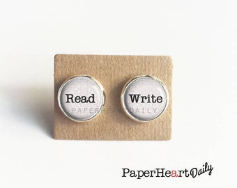 Read Write Earrings - Writer Earrings - Author Gift - Gift for Writer - Storyteller - Jewelry for Writers - Author - Book Gifts -  (H7223)