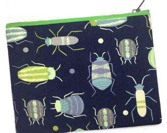 Bug Print Bag—Wristlet, Makeup Bag, Pencil Case, Pouch, Insect, Moth, Beetle, Ant, Science, Entomology, Biology, STEM, Garden