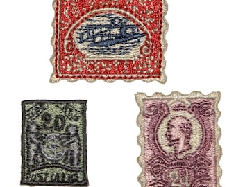 ID 1397ABC Set of 3 Classic Stamp Patches Collection Embroider Iron On Applique