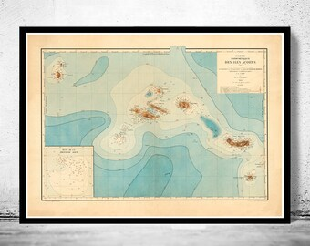 Old Map of Açores Azores Islands 1899,  Portuguese map