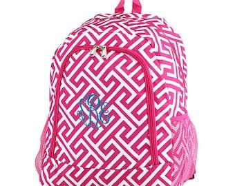 Greek Key Backpack,Personalized Backpack, monogrammed backpack, back to school, school bag, girls backpack, kids backpack, gift for her