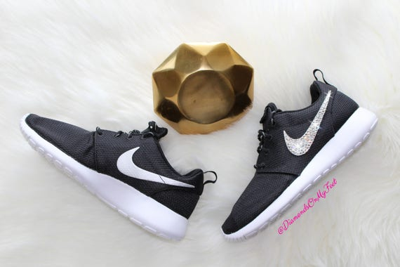 Swarovski Women's Nike Roshe Run One Black & White Sneakers Blinged Out  With Authentic Clear Swarovski Crystals Custom Bling Nike Shoes