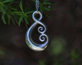 Maori love symbol ~ sterling silver Koru tribal ethnic necklace