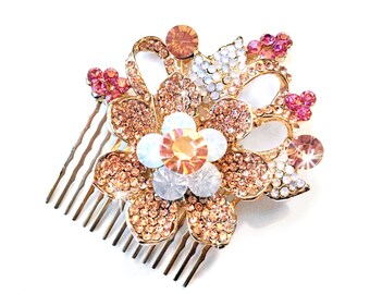Comb - Blush Pink Floral Hair Comb in Gold - Vintage Style Hair Piece - Pink Bridal Comb - Wedding Hair Comb - Flower Rhinestone Brooch