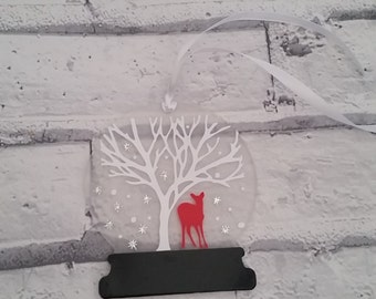 Christmas snow globe/Christmas ornament/deer ornament/glitter ornament/unique tree ornament/deer tree decoration/winter deer bauble