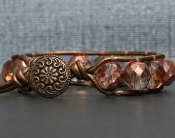 rose gold crystal on bronze leather single wrap bracelet - boho glam bangle