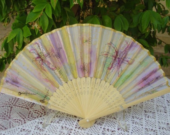 Folding fan hand-painted, polyester with bamboo frame, lilac, gold, hand painted fan, bridesmaid. OOAK Gift ideas. Made in Italy