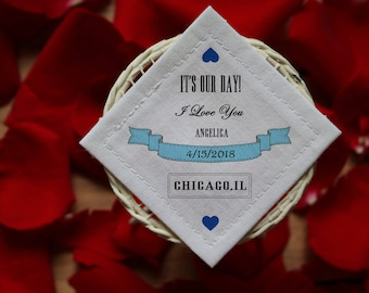 Groom Tie Label / Something Blue Wedding Label / Personalized Tie Label / Wedding Tie Patch / Father of the Bride Tie Patch