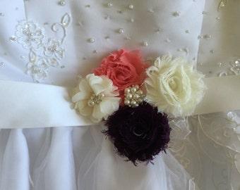 Bridal Sash - wedding dress sashes- Rustic wedding sash- Wedding Sash- Coral/vory/Eggplant sash- Bridesmaid sash-  flower girl belt