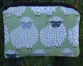 Sheep coin purse, credit card case, gift card pouch, Sheepish Smile, pick your color, The Raven