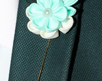 Turquoise lapel pin Blue Boutonniere Men's Buttonhole Light Blue Groom's Boutonniere Flower Soft blue Wedding pin Brooch Blue Groom Flower