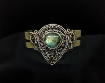 Upper Arm Cuff - Labradorite Bracelet -  Wire Wrapped Bronze Armlet - Gemstone Jewellry - Victorian Gothic