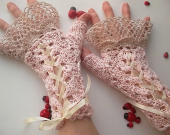 Crocheted Cotton Gloves L Ready To Ship Victorian Fingerless Summer Women Wedding Bridal Lace Evening Hand Knitted Party Pink Corset B73
