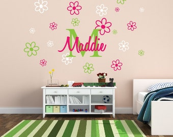 Personalized Name Decal With Flowers Nursery Decor - Kids Room Teen Name Vinyl Wall Decal