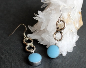 Dangle Dots Baby Blue Infinity Stained Glass Earrings - Stained Glass Jewelry-Free US Shipping