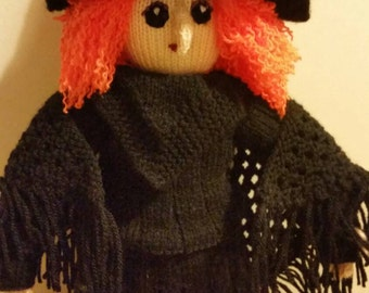 Hand knitted Elizabeth Witch Doll