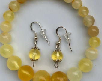 Vintage Genuine Polished Baltic Amber Yellow Beads Set Bracelet EarringsJewelry For Her