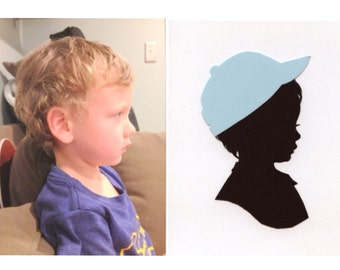 Custom Silhouette Portrait: 5x7, Black Silhouette, White Background, with Color Embellishment