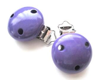 Wood - purple pacifier clip