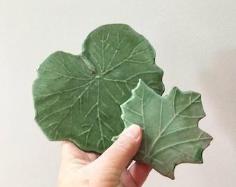 Green Leaf Tiles / Terra-Cotta Leaves / DIY Tile Art / 2 Leaf Tiles / Nature Tiles / Garden Decor Tiles / Vintage Tile / Handmade Tile