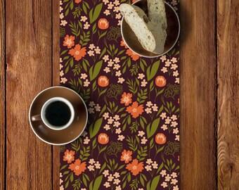 Thanksgiving Table Decor, Thanksgiving Table Runner, Autumn Fall Table Runner, Dark Floral Table Runner, Burgundy Orange Green Runner _M