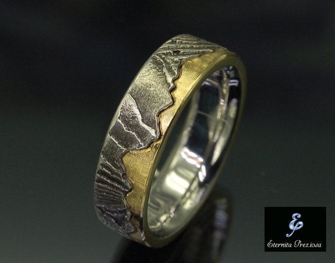 6mm Unique Wedding Band Rustic Engagement Ring Wedding &