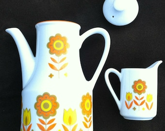 Matching teapot and creamer, Japan, floral
