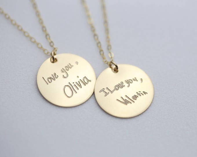 Kids Handwriting Signature Disc Necklace // Keepsake Jewelry // Actual Handwriting Necklace // Personalized Jewelry