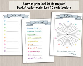 Bullet journal printable level 10 life planner template - digital PDF bujo bullet journal pages - bullet journal level up wheel of life