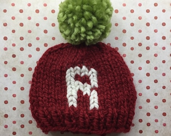 Red Monogram hat Christmas pom pom Hat with Cream Letter, custom holiday card photo prop knit hat, customized letter hat, monogram beanie ha